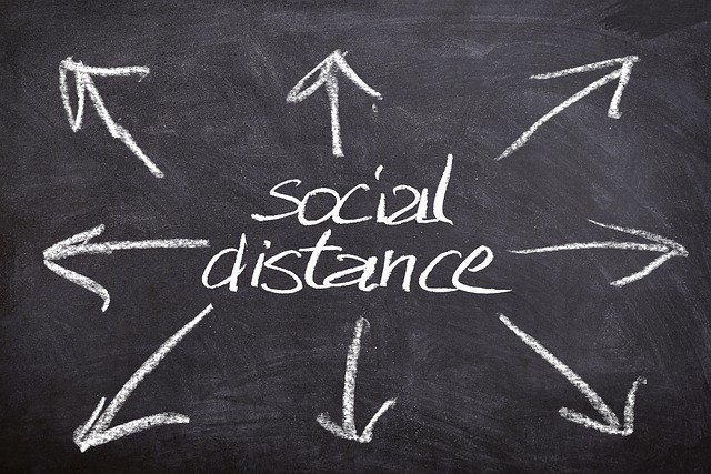 The words Social Distancing with arrows pointing outwards