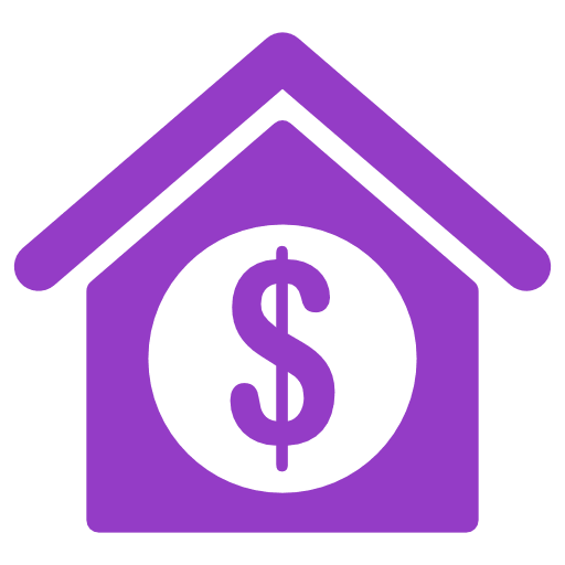 Purple house with dollar sign in the middle