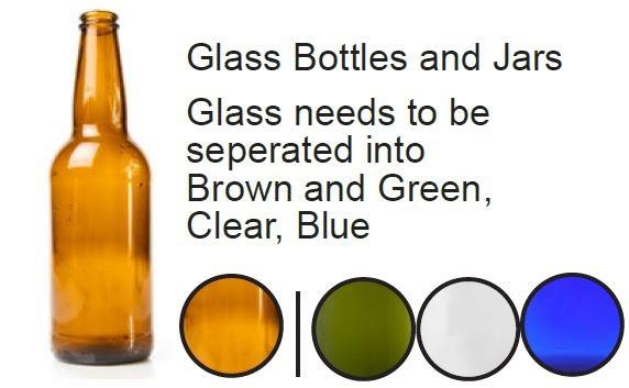 Glass bottle and jars - Glass needs to be seperated into brown and green, clear, blue